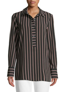 Max Studio Long-Sleeve Button Striped Shirt