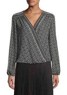 Max Studio Long-Sleeve Crepe Crossover Blouse