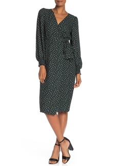 Max Studio Long Sleeve Floral Wrap Dress