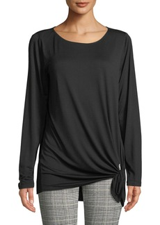 Max Studio Long-Sleeve Side-Tie Tee