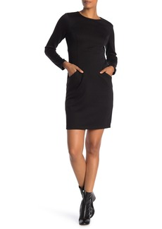 Max Studio Long Sleeve Solid Pocket Dress