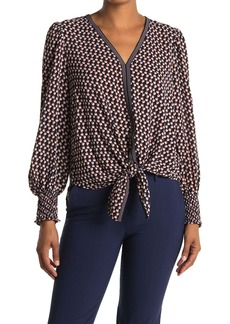 Max Studio Long Sleeve Tie Front Blouse