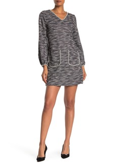 Max Studio Long Sleeve Tweed Knit Dress