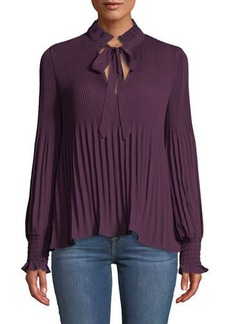 Max Studio Long-Sleeve V-Neck Pleated Blouse