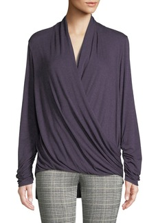 Max Studio Long-Sleeve Wrapped Jersey Top