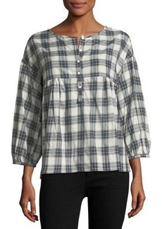 Max Studio 3/4-Sleeve Plaid Shirt