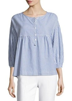 Max Studio 3/4-Sleeve Striped Shirting Top