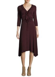 Max Studio 3/4-Sleeve V-Neck Lace-Up Dress