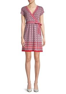 Max Studio Abstract Print Wrap Dress