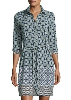 Max Studio Belted Medallion-Print Jersey Shirtdress