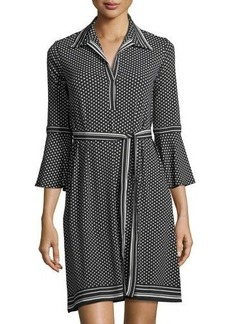 Max Studio Belted Polka-Dot Shirtdress