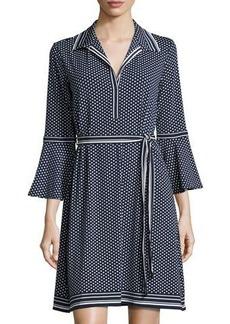Max Studio Belted Polka-Dot Shirtdress