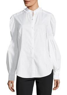 Max Studio Blouson-Sleeve Poplin Shirt
