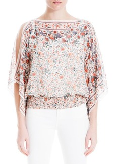 Max Studio Boatneck Split-Sleeve Smock-Hem Floral Top