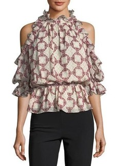 Max Studio Butterfly-Pirint Cold-Shoulder Blouse