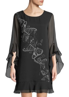Max Studio Butterfly-Print Ruffled Chiffon Dress