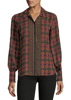 Max Studio Button-Front Printed Blouse