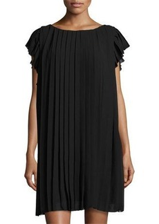 Max Studio Cap-Sleeve Pleated Chiffon Dress