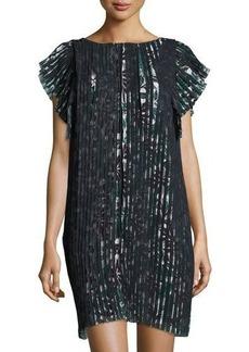 Max Studio Cap-Sleeve Pleated Floral-Print Dress