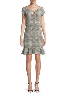 Max Studio Cap-Sleeve Tweed Dress