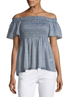 Max Studio Chambray-Print Smocked Off-the-Shoulder Top