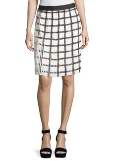 Max Studio Check Pleated A-Line Skirt
