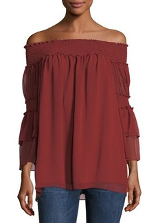 Max Studio Cinch-Sleeve Off-the-Shoulder Blouse