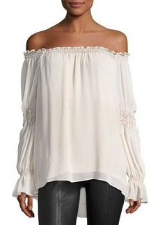 Max Studio Cinched-Sleeve Off-Shoulder Blouse