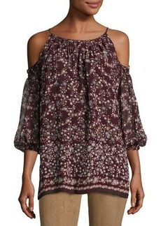 Max Studio Cold-Shoulder Floral-Print Top