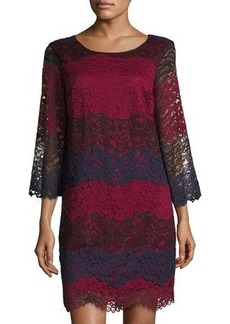 Max Studio Colorblock Tiered-Lace Shift Dress