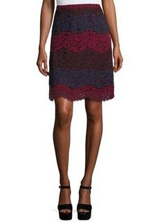 Max Studio Colorblock Tiered-Lace Slim Skirt