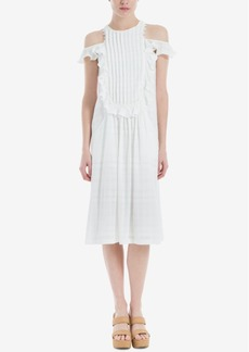 Max Studio Cotton Pleated Cold-Shoulder Dress