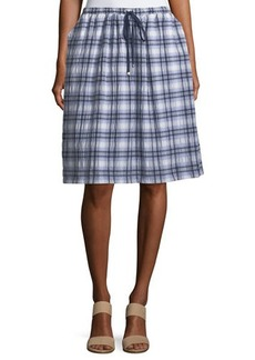Max Studio Crinkled Plaid A-Line Skirt