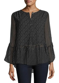 Max Studio Dot-Print High-Low Blouse