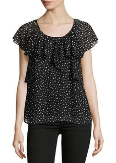 Max Studio Dot-Print Ruffled Georgette Blouse