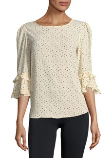 Max Studio Dotted Ruffle-Sleeve Top