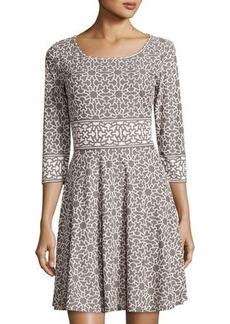 Max Studio Double-Knit Geometric-Print Dress