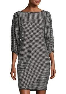 Max Studio Double-Knit Jacquard Balloon-Sleeve Dress