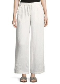 Max Studio Drawstring-Waist Cropped Linen Pants