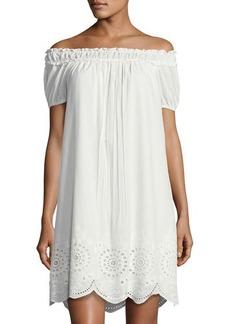 Max Studio Embroidered Cotton Shift Dress