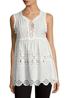 Max Studio Embroidered Cotton Tunic