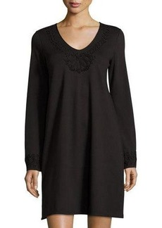 Max Studio Embroidered-Detail Long-Sleeve Shift Dress
