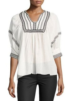 Max Studio Embroidered Gauze Top
