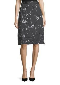 Max Studio Embroidered Jacquard Midi Skirt