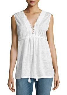 Max Studio Embroidered Knit Jersey Top