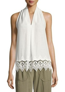 Max Studio Embroidered-Trim Sleeveless Blouse