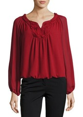 Max Studio Embroidered-Yoke Bubble-Hem Blouse