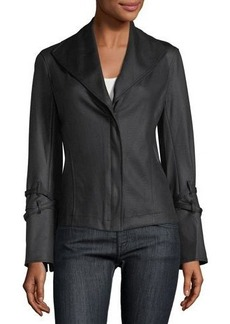 Max Studio Faux-Leather Coated-Jersey Bomber Jacket