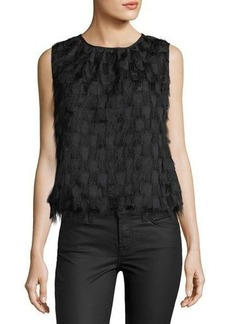 Max Studio Feathered Bubble-Hem Blouse