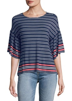 Max Studio Flared-Sleeve Striped Top